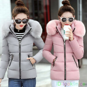 Winter-Women-Down-Jacket-Padded-Cotton-Coat-Ladies-Slim-Short-Hooded-Parka-New