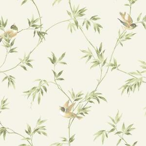 Details About Wallpaper Songbird Vine Cute Birds Green Tan On Off White Background