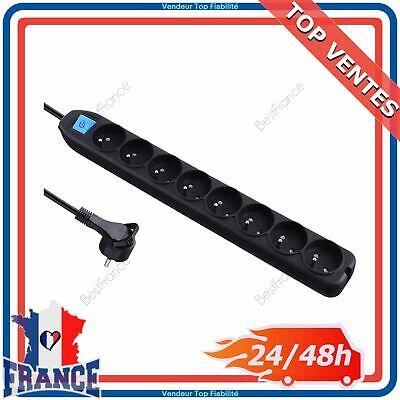 Bloc Multiprises 4 Prises Électrique 2P+T 16A avec Interrupteur Rallonge 90cm