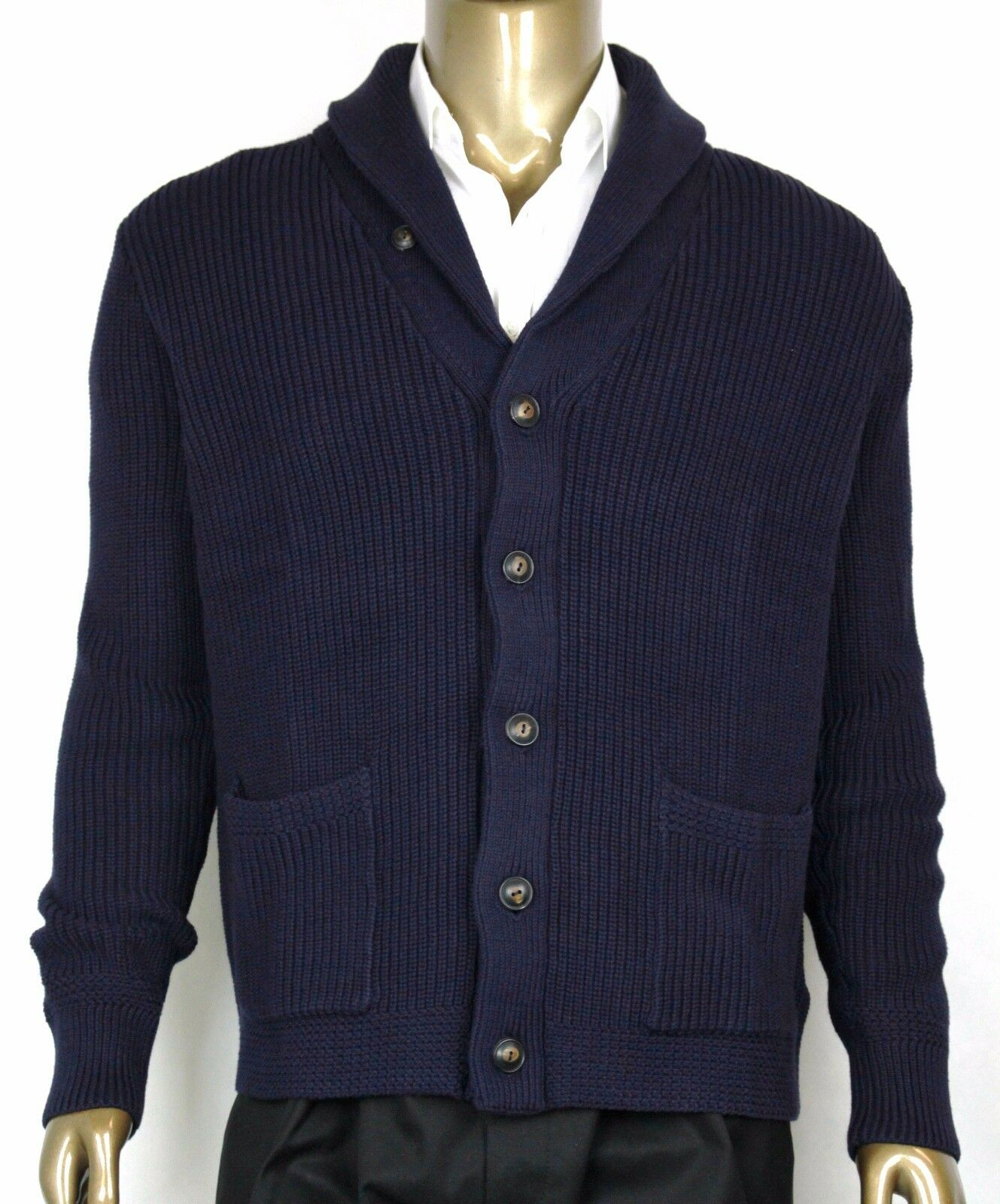 New Polo Ralph Lauren Men's Cotton Shawl Cardigan Sweater Navy, L, 0186171 WGB