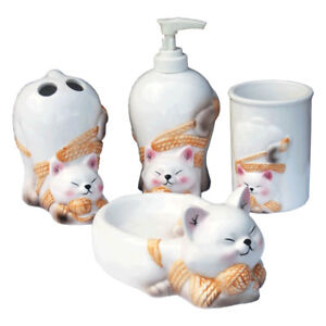 Hand Paint Blinky The Cat Ceramic Bathroom Accessories Set 4 Pcs