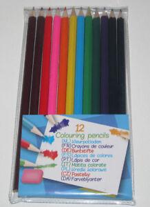 Set-de-12-Crayons-de-Couleur-18-cm-Coloriage-Dessin-Kids-Creative-NEUF