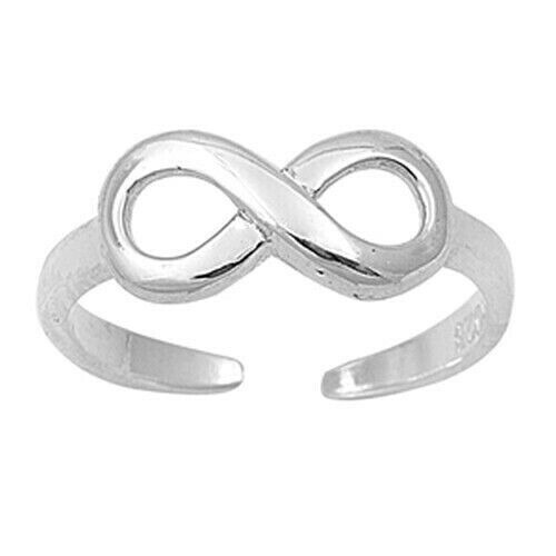 Infinity Toe Ring Face Height 6 mm Solid Sterling Silver 925 Adjustable Jewelry