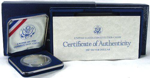 1987 P United States Constitution $1 MS//UNC Silver Dollar Coin w// COA /& Box 1