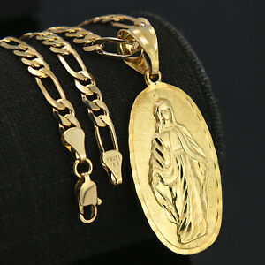 """18k Gold PT Our Lady Of Guadalupe Charm Pendant 5mm 18/"""" Figaro Necklace Chain"""