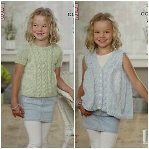 36861fb0d83a KNITTING PATTERN Girls Round Neck Cable Jumper   Waistcoat DK King ...