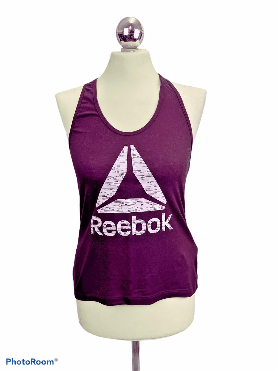 Reebok Supremium Racer Back Cotton Tee Burgundy S (8-10) Active Workout Gym