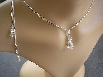 Crystal Backdrop Necklace Back Chain Bridesmaid Wedding Bridal Back drop 57CT