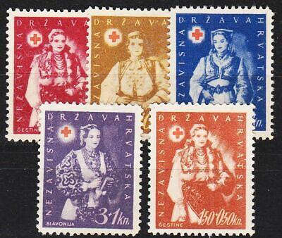 Rotes Kreuz 100% Original 1942 Kroatien Croatia Og/no Gum Minr 0086-89