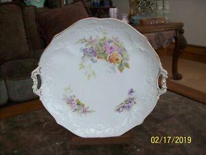 Carl Tielsch Germany White Porcelain Vtg Double Handle Cake Serving Platter Decorative Arts C.t