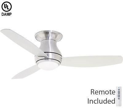"Emerson 52/"" Curva Sky Brushed Steel Damp LED Outdoor Ceiling Fan CF152LBS"