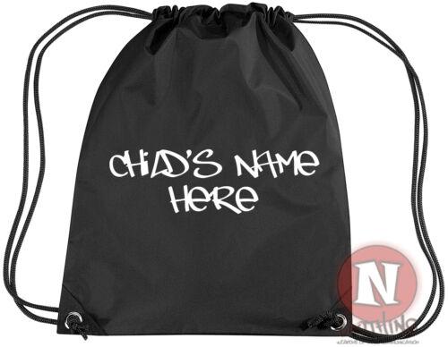 add child/'s name Personalised graffiti sports kit bag Drawstring PE school