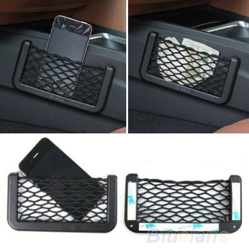 UNIVERSAL CAR SEAT SIDE BACK NET STORAGE BAG PHONE HOLDER POCKET ORGANIZER BF4K