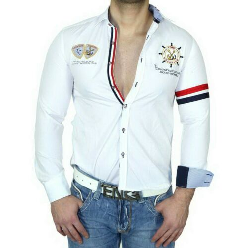 Tony Copper Slim Fit Uomo Camicia manica lunga POLO POLO Thirt BIANCO tc-10010