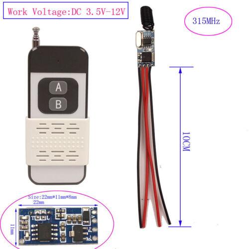 Micro Relay Switch 3V 3.7V 4.5V 5V 6V 7.4V 9V 12V Mini Remote Control Switch