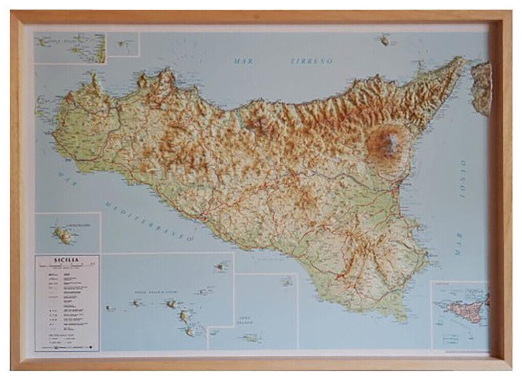 Cartina Sicilia Con Paesi.Sicilia Carta In Rilievo 94x71 Cm Con Cornice In Legno Mappa Cartina Ebay