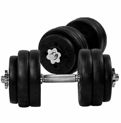 TNP 20KGx2 = 40KG DUMBELL SET VINYL GYM WEIGHTS FITNESS AT HOME GYM 1