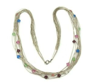 Shube-Sterling-Liquid-Silver-Blue-Pink-Green-Crystal-Multi-Strand-Necklace
