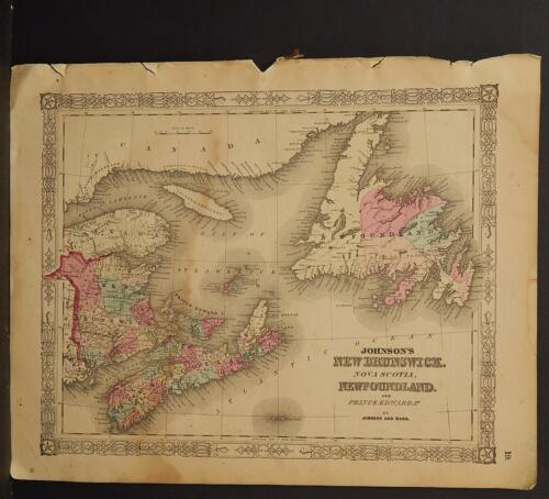 Johnson's Maps, 1864 Canada, New Brunswick, Nova Scotia, Newfoundland O3#72