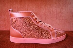 e0275fca2f8 Details about NEW Christian Louboutin Orlato Flat Satin Strass Size 10 EU  43 Red Crystals Gems
