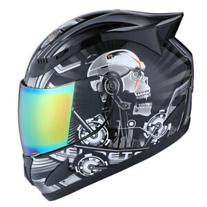 1STORM-DOT-MOTORCYCLE-STREET-BIKE-FULL-FACE-HELMET-MECHANIC-WHITE-SKULL-BLACK