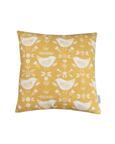 "Scandinavian /""Narvik Birds/"" Ochre orange teal dove Grey denim Cushion Covers"