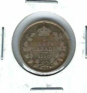 1918-Canadian-Circulated-George-V-Silver-Five-Cent-Coin