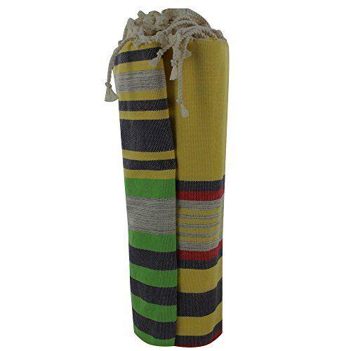 Fouta serviette de plage en coton jaune rayures vert rouge et noir