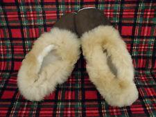 New Peru Unisex Suede Brown Slippers With Alpaca Brown Fur W 9.5 M 8 Euro 41