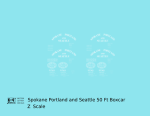 K4-Z-Decals-Spokane-Portland-and-Seattle-50-Ft-Boxcar-White-Arched-Lettering