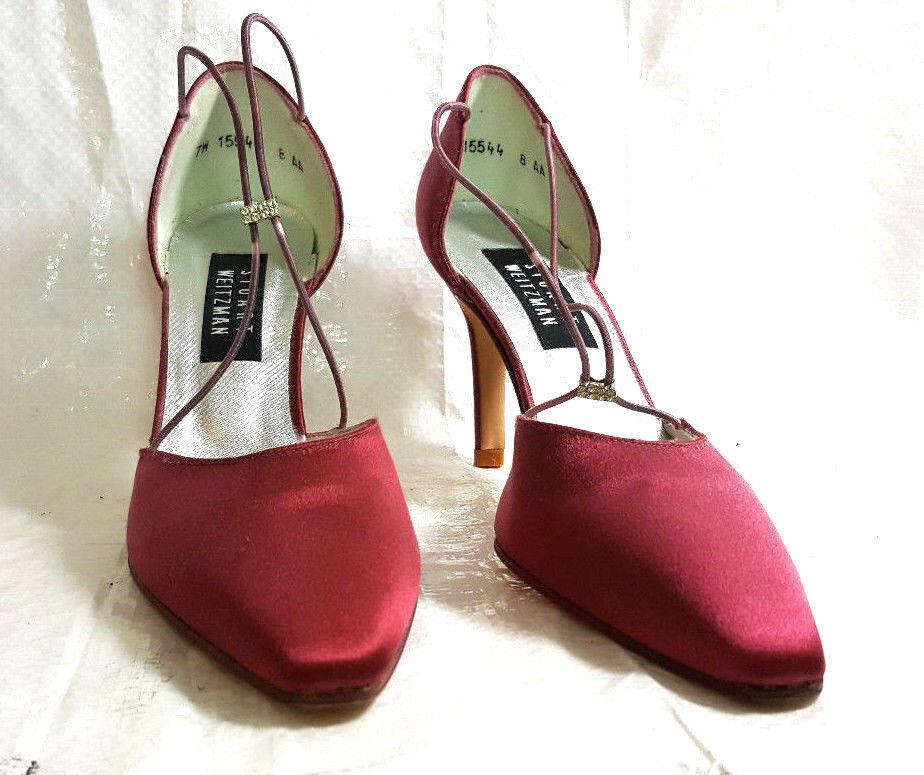 Stuart Weitzman Womens pumps 8AA Dull Pink Satin Satin Satin Heels straps shoes solid NWOB 425a04