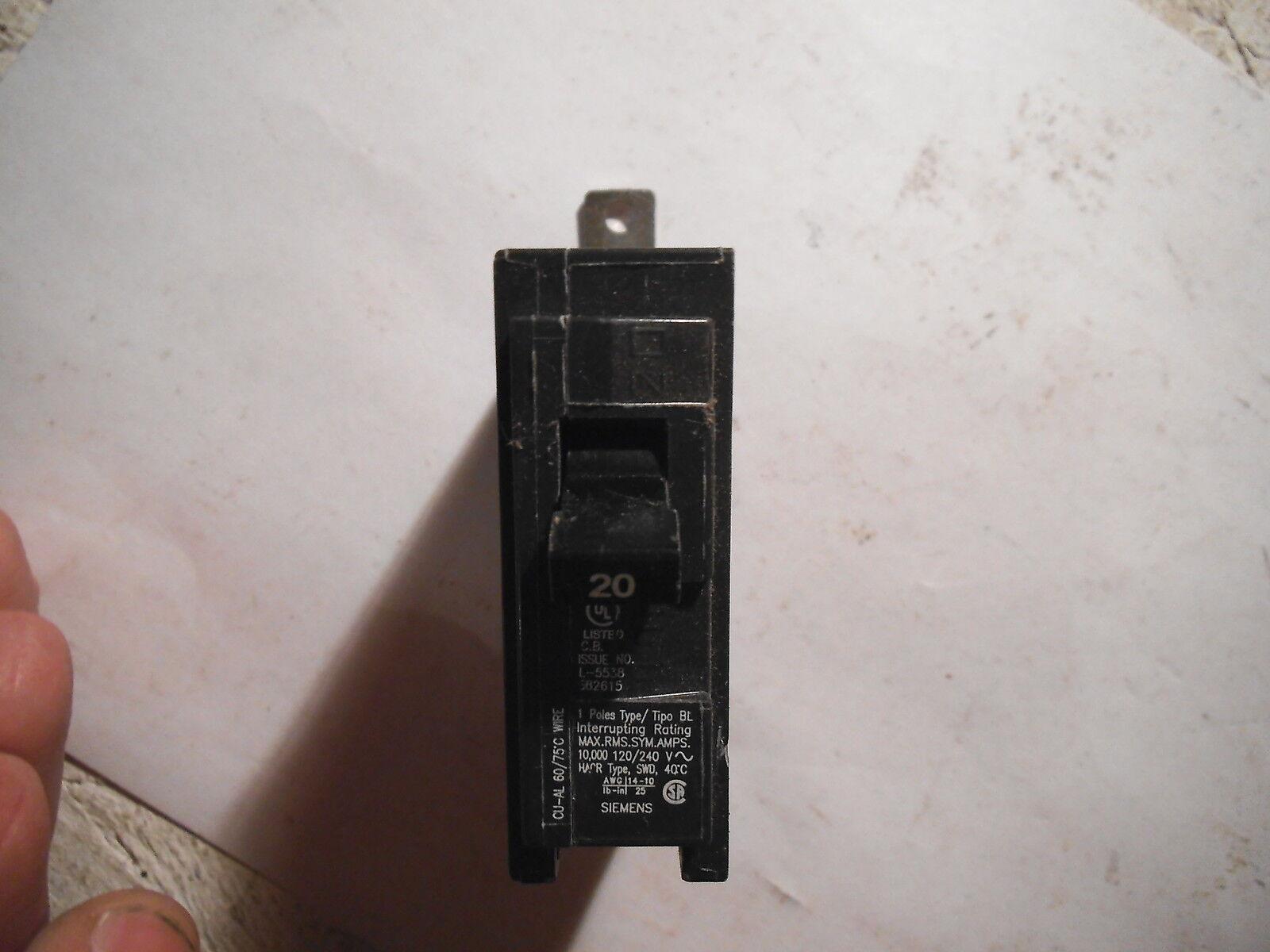 Siemens 20a 1 Pole Type BL Circuit Breaker B120 | eBay