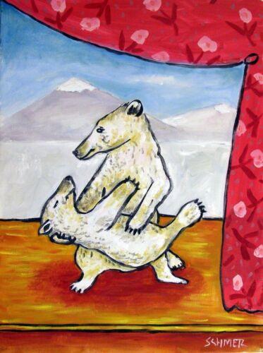 POLAR BEAR art PRINT 11x14 poster dance bear art  print modern folk art JSCHMETZ