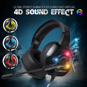 a7d3946a3de Details about ONIKUMA K6 RGB LED 3.5mm PC Gaming Headset headphone Stereo  Surround with Mic