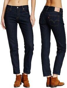 Levi-039-s-Damen-Jeans-Hose-501-CT-Boyfriend-Marineblau-W23-W32