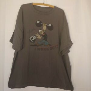 Popeye Men's 3x T Shirt I Work Out Weightlifting Gray Cartoon Short Sleeve