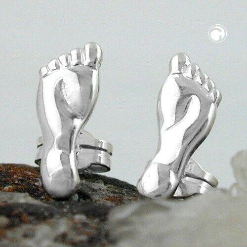 Damen Ohrschmuck Ohrringe Ohrstecker Füße glänzend aus Silber 11 x 5 mm