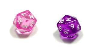 2-Wuerfel-Transparen-Rosa-Violett-Lila-D20-20-Seitig-1-20-W20-Knobel-Spielen