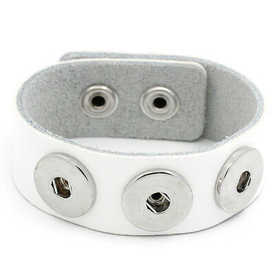 Wholesale Lots Real Leather Bracelet  Fits Metal Snap Press Buttons White