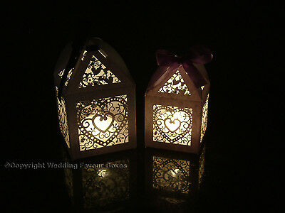 NEW WEDDING LANTERNS TEALIGHT LED TEA LIGHT CANDLE HOLDERS WITH FREE RIBBON