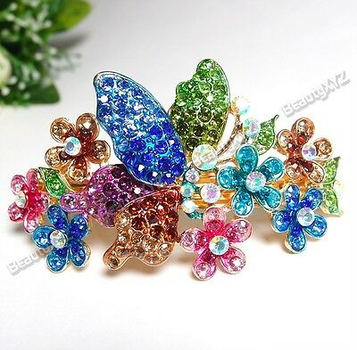 New rhinestone crystal butterfly flower gold tone hair barrette clip 3839