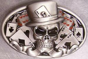Pewter-Belt-Buckle-gamble-Casino-Skull-cards-amp-dice-NEW