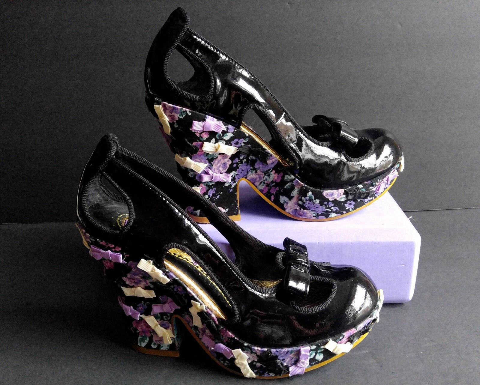 Irregular Irregular Irregular Choice Pumps schuhe Platform Wedge Spangled Bows Sz 8 1 2 a2ce73