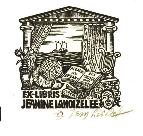 Petit format. EX-LIBRIS de Jean LÉBÉDEFF pour Jeanine LANOIZELÉE