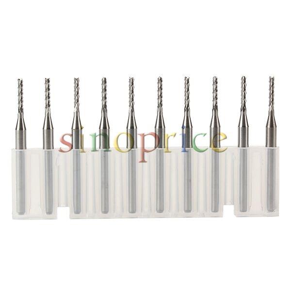 10pcs Tungsten Carbide CNC PCB End Mill Engraving Bits 0.8-1.8mm Cutting