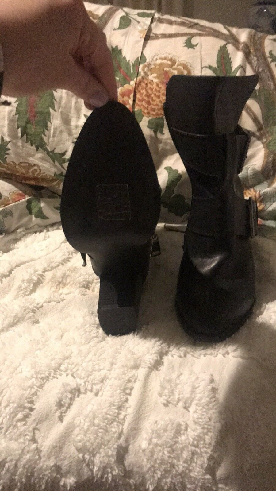 Womens black leather leather leather booties size 10 e93098