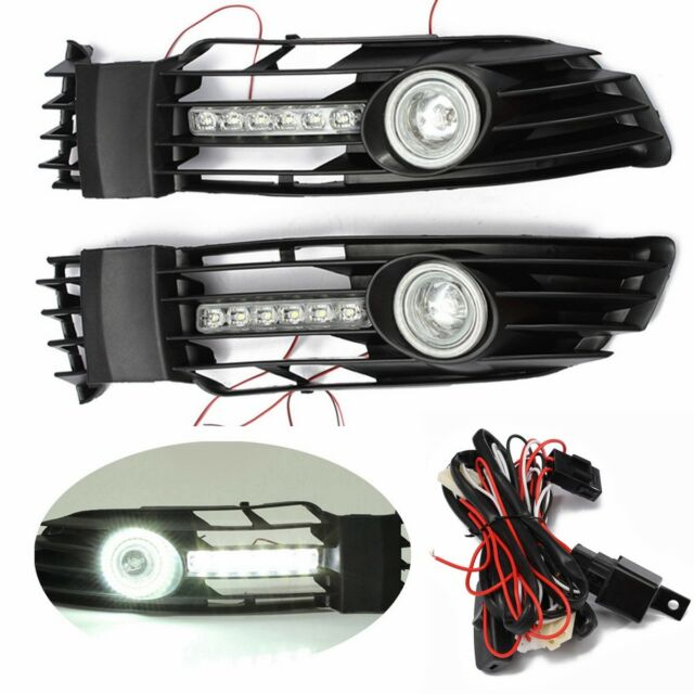 Pair Front Bumper Fog Light Grilles Grills With LED DRL For 2000-2005 VW Passat