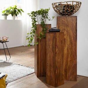 FineBuy Beistelltisch Massivholz 3er Set Tische Sheesham Wohnzimmertisch