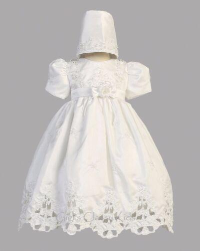 White Baby Flower Girls Shantung Dress Christening Baptism Dedication Bonnet