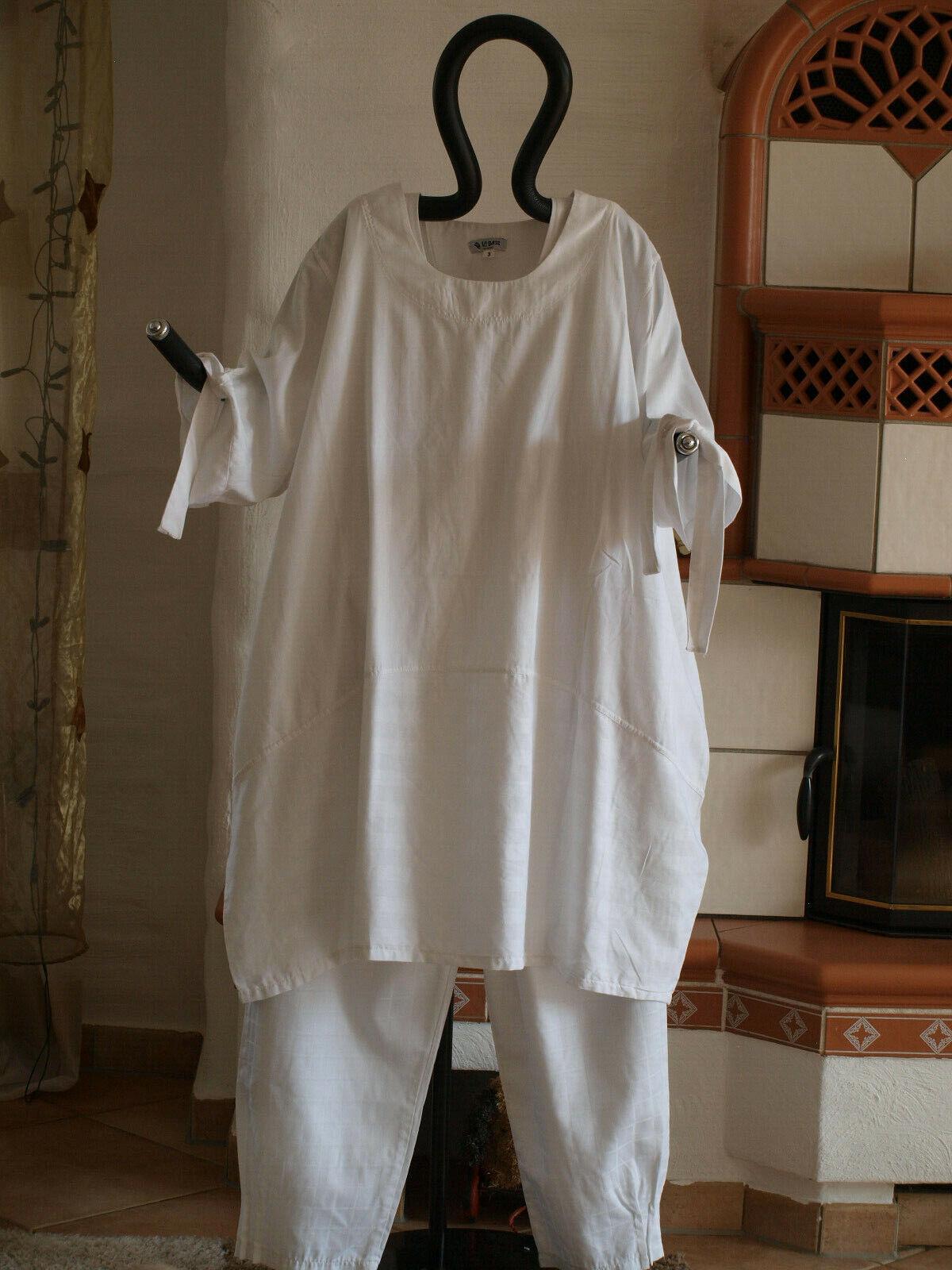 1840 LABASS Lagenlook Big Shirt Ballonform weiß weiss gestreift Gr. XXL 52 54
